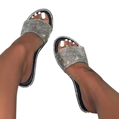 2021 New Year gift Hot sale Women's Flat Slippers Sandals Rhinestones Candy-colored Sole Sexy Party black 41