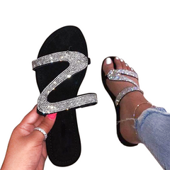 2021 New Year gift Hot sale Fashion Shoes Summer Rhinestone Sandals Shoes Women Flip Flop Femme White 40
