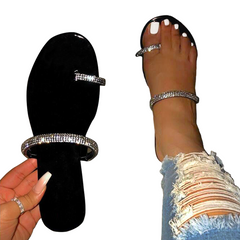 2021 New Year gift Hot sale Summer Flat Women Sandals Handmade Rhinestones Slippers  Shoes Simple Black 41