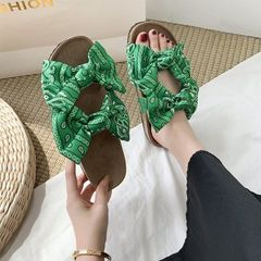 Hot sale Women Sandals Summer Flat Sandals Bow-Knot Comfort Anti-Slip Shoes Platform Slide Plus Size green 39