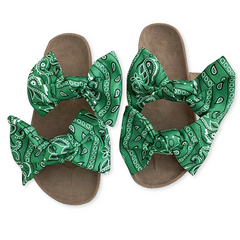 2021 New Year gift Hot sale fashion Women Slippers Summer Flat Bow-Knot Comfort Anti-Slip Shoes green 39