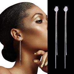 2020 FBK Long Crystal Tassel Silver Color Dangle Earrings for Women Wedding Drop Earing Hot Jewelry Silver one size