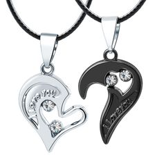 2Pcs/Set Couple Heart Shape I Love You Pendant Necklace Lovers Couples Jewelry Valentine gifts Black+silver As picture