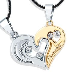 2Pcs/Set Couple Heart Shape I Love You Pendant Necklace Lovers Couples Jewelry Valentine gifts Gold+silver As picture