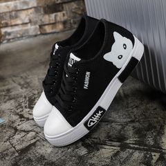 Women's Canvas Shoes Cartoon Catwoman Shoes Black Sneakers Vulcanized Shoes Casual Flat Shoes black 41