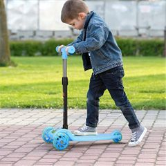 Children's Balance Bike Tricycle Children's Scooter 3 In1 Flash Folding Scooter Scooter Ride On Toys Blue one size