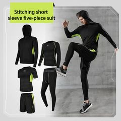 Sports 5pcs sets of men's short-sleeve sport gym clothes stretch basketball sport running sportswear m Green space 5-piece set