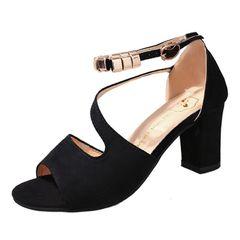 Limited time sale Fashionable and versatile ladys heels womens heels ladies heels Coarser heel shoes black 40