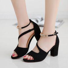 Limited time sale Fashionable and versatile ladys heels womens heels ladies heels Coarser heel shoes black 38