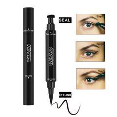 HANDAIYAN Double Head Seal Eyeliner Triangle Seal Eyeliner 2 in 1 Waterproof Eyeliner Makeup black
