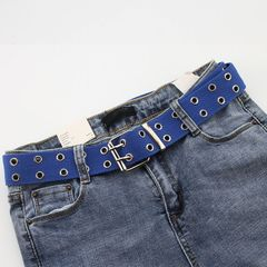 New Unisex Designer Harajuku Wide Belts Canvas Double Grommet Hole Buckle Belts for Women Men Jeans blue
