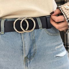 2020 New Designer's Famous Brand Leather Belt Fashion Alloy Double Ring Circle Buckle Girl Jeans black