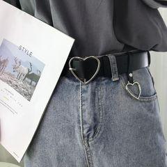 Heart-shaped Buckle with Adjustable Ladies Luxury Cute Thin Belts High Quality Punk Fashion 104cm silver heart