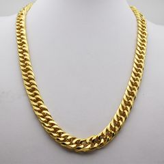new 60cm fashion brand Bawang gold earth Haojin Necklace men's imitation gold 12mm double button golden as picture