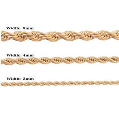 Gold Rope Chain Necklace Stainless Steel Necklace Choker Twist Chain for Men  Thickness 6mm golden as picture