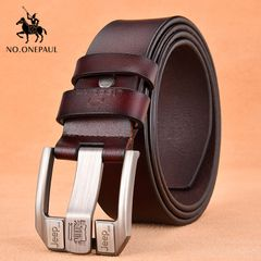 PU Leather For Men High Quality Black Buckle Jeans Belts Cowskin Casual Belts Business Belt coffee one size