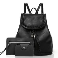 3PCS/SET Backpacks & Bookbags for Ladies PU Leather for Ladies Shopping Bags black one size