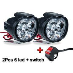 2Pcs Motorcycles Headlight Working Spot Light Motorbike 6500k White Motorcycle & Powersports black 2pcs