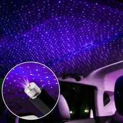 LED Car Roof Star Night Light Projector Atmosphere Galaxy Lamp USB Decorative Interior Accessories purple blue one size