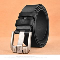 PU Leather For Men High Quality Black Buckle Jeans Belt Cowskin Casual Belts Business Belt coffee one size
