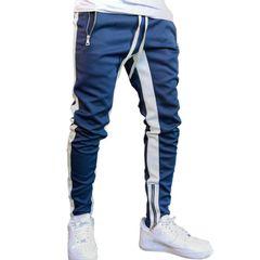 Mens Casual Pants Fitness Men Sportswear Tracksuit Bottoms Skinny Sweatpants Trousers blue l