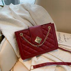 women's Bag2021 new  personalized lock rhombic shoulder diagonal handbags handbags for ladies red