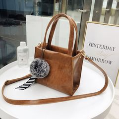 Women's bag 2021 new Korean fashion ladies handbag hanging fur ball bag shoulder messenger bag brown