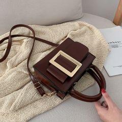 women's Bag 2021 new small square bag texture Joker simple one shoulder portable messenger bag dark brown