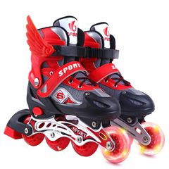 Kids Line Roller Skating Shoes Extendable Size 26-41 Outdoor Toys Fun Sports Hobbies RED S(26-32)