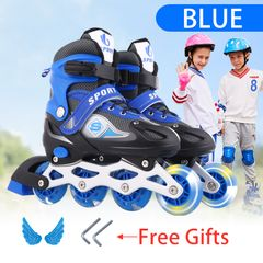 Kids Line Roller Skating Shoes Extendable Size 26-41 Outdoor Toys Fun Sports Hobbies BLUE M(33-37)