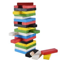 54 PCS/SET Timber Tower Wooden Building Blocks Stacking Game Jenga Tumble Tower Colorful As Picture 23CM*7CM*7CM