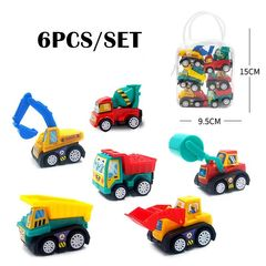 6 PCS/SET Die Cast Toy Car Pull Back Vehicles Mini Construction Truck for Toddlers Boys Girls Kids Engineer