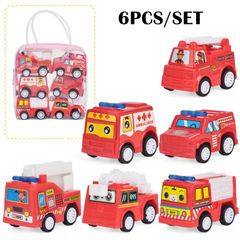 6 PCS/SET Die Cast Toy Car Pull Back Vehicles Mini Construction Truck for Toddlers Boys Girls Kids Fire