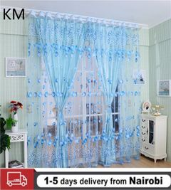 Tulip Printed Curtains Window Decor Sheer Blinds Voile Tulle for Living Room Balcony Yarn BLUE 100*200CM