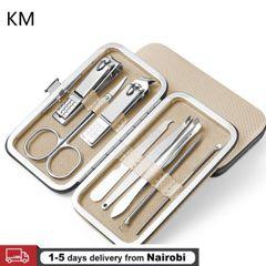 8Pcs/Set Multifunction Nail Clippers Set Stainless Steel Pedicure Scissor Tweezer Kit Nail Art Tools gold
