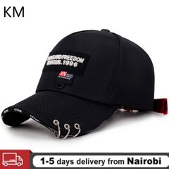 KM 2020 High-quality Hat Wild Personality Fashion Three-ring Cap With Ring Baseball Cap Male hat black Adjustable