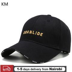 KM Men and Women Outdoor Hat Autumn Wild Casual Sunscreen Baseball Cap Cotton Breathable Cap black Adjustable