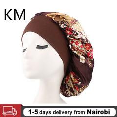 Women's Silk Night Sleep Cap Hair Hat Hood Satin Wide Adjustable Elastic Band coffee