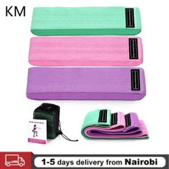 3 Pieces/package Exercise Bands Non-slip Cloth Hip Belt Resistance Band Ring Cloth Fitness Green + pink + purple Three bags + net bag + manual