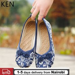 Women's Embroidered Canvas Shoes Ballerinas Bottom Large Size Women's Loafers Women's Shoes Flats blue 40