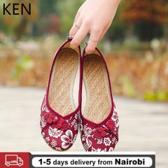 Women's Embroidered Canvas Shoes Ballerinas Bottom Large Size Women's Loafers Women's Shoes Flats RED 40