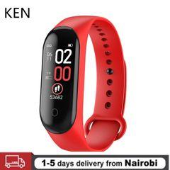 KEN 2020 Smart Watch M4 Smart Wristband Heart Rate Waterproof Touch Screen Bluetooth Smart Watch RED One size