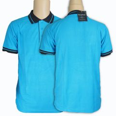 New Fashion Multi-color Men's short Sleeve Polo Shirts Sport Casual Polo T-shirt sky blue&black l cotton/polyester