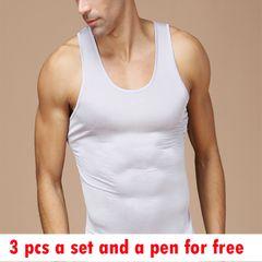 3 Pcs Men's Vest Slimming Body Shaper Undershirt Vest Shirt Abdomen Shaper Vest with A Pen For Free white (3 pcs) L