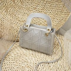 Ladies new European style small square bag shoulder handbag messenger bag Mini bag women's bag Silver