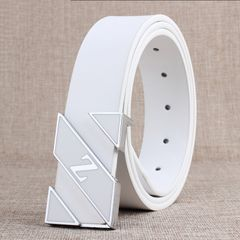 Belt men's leather white smooth buckle belt youth simple trendy student personality belt Belt fashio white 105cm
