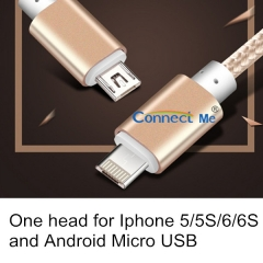 Connect Me 2 in 1 usb cable in one head with two functions for Android and IPhone mobile gold