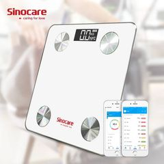 Sinocare Weight Scale Bluetooth Body Fat Scale Smart Floor Body Fat Monitor Balance Test 8 Body WHITE