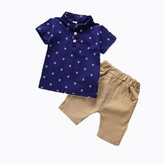 Baby Boys Clothes T-shirt  Tops+Pants 2pcs Vogue newborn Kids Clothes wear Suits & Blazers Dark Blue 120cm