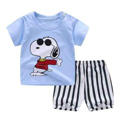 2- Piece Boys Cotton Clothes Set Short Sleeve T-Shirt Pants Children Clothing Blue 110cm